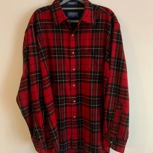 Pendleton Wool Heavy Red Buffalo Plaid Flannel L